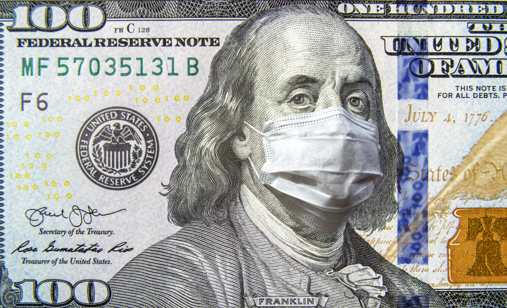 featured image showing 100 Dollar Bill with Benjamin Franklin in a Face Mask Representing COVID-19