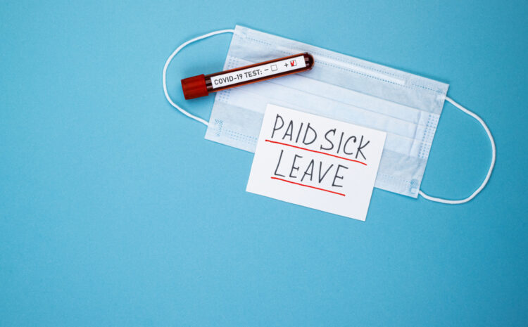 featured image showing a COVID-19 test , mask and a note stating Paid Sick Leave