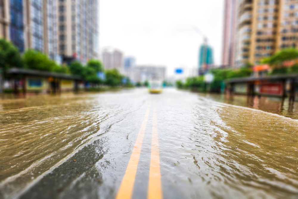 featured image showing downtown streets flooding