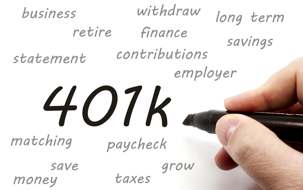 featured image showing 401k handwritten around retirement terms