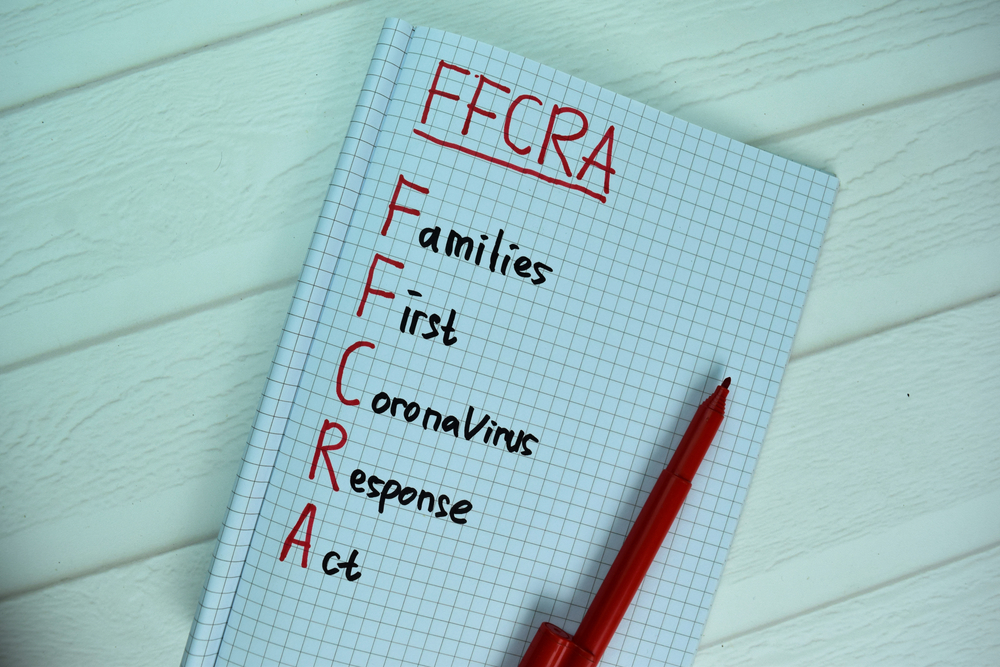featured image showing FFCRA - Families First Coronavirus Response Act write on a book isolated on office desk.