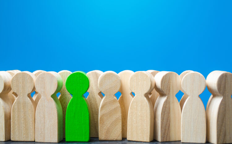 featured image showing wooden characters to symbolize employee job search